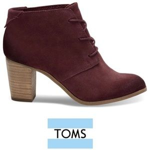 Oxblood Burnished Suede Lunata Lace-Up Booties